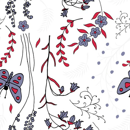 butterfly in hand: Vector seamless pattern with doodles of flowers and butterflies. Floral background with hand drawn elements. Ornamental decorative illustration for print and web. Illustration