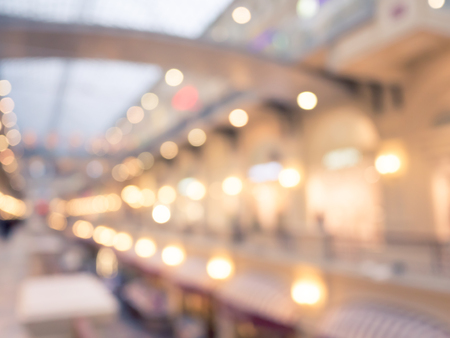 Defocused interior of a large luxury shopping center. Reklamní fotografie - 44333404