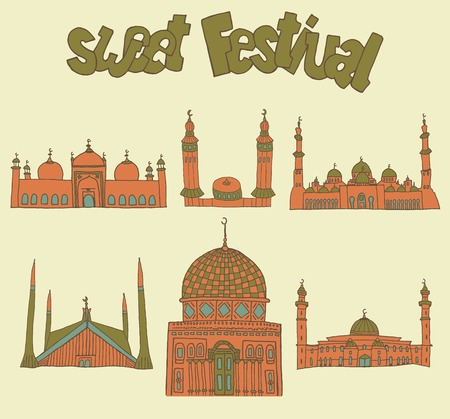 set of Colorful drawings of mosques with text. Hand drawn images of islamic worship places for holiday design. Doodles of different mosques with holiday lettering. Illustration