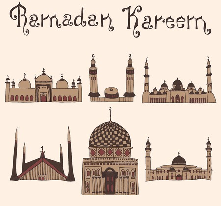 ramzan: set of Colorful drawings of mosques with text