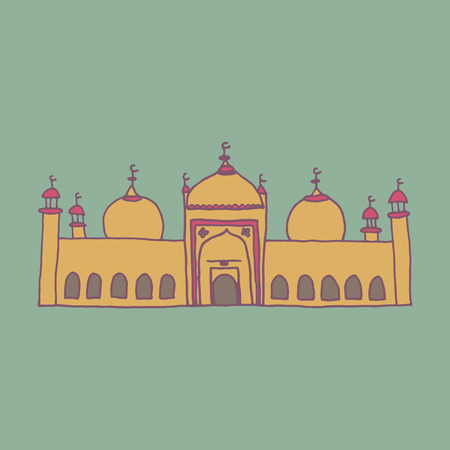 namaaz: Colorful drawing of mosque Illustration