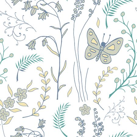 kid drawing: seamless pattern with doodles of flowers and butterflies Illustration