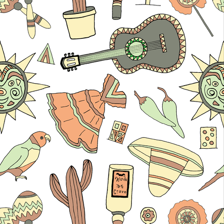 spanish ethnicity: Seamless pattern with fiesta elements. Mexican holiday background with hand drawn doodles.