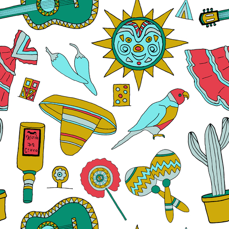 enchiladas: Seamless pattern with fiesta elements. Mexican holiday background with hand drawn doodles.
