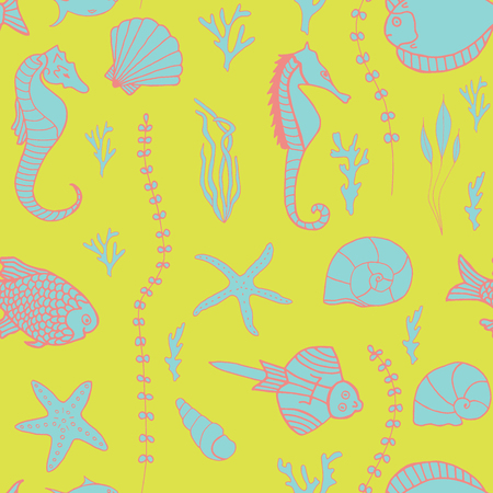 oceanside: Seamless pattern with hand drawn fishes, corrals, shells, seaweeds and sea-horses Illustration