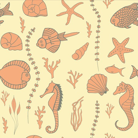 seaweeds: Seamless pattern with hand drawn fishes, corrals, shells, seaweeds and sea-horses Illustration