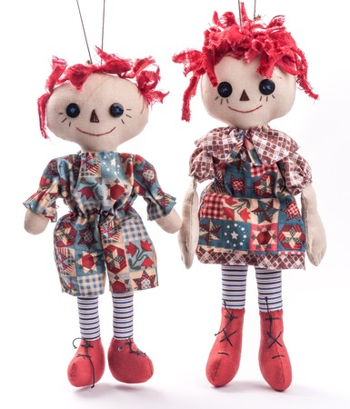 raggedy: Funny coupl. Halloween toys. Stock Photo