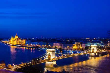 obuda: The famous Chain Bridge in Budapest, Hungary - night time photography.