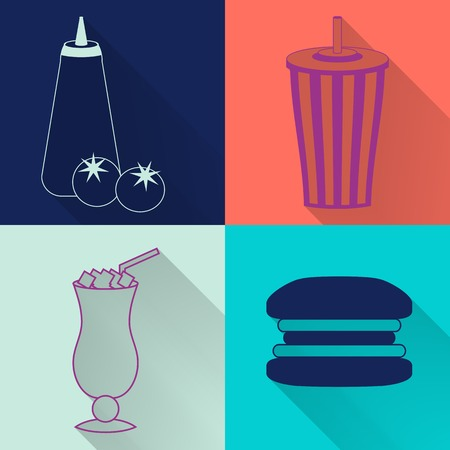 continental food: Set of four colored fast food icons in flat style. Template for fast food banner. Stylishly colored icons, design elements for restaurants, caffe and fast food places.