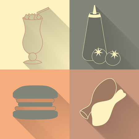 stylishly: Set of four colored fast food icons in flat style. Template for fast food banner. Stylishly colored icons, design elements for restaurants, caffe and fast food places.