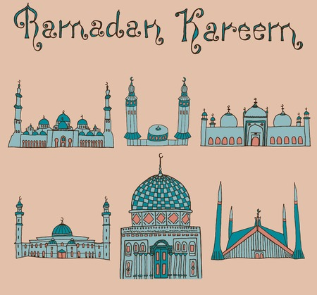 ramzan: set of Colorful drawings of mosques with text. Hand drawn images of islamic worship places for holiday design. Doodles of different mosques with holiday lettering. Illustration
