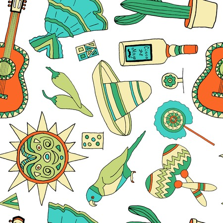 Seamless vector pattern with hand drawn mexican elements. Perfect background for your design. Travel to Mexico texture.