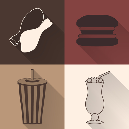 caffe: Set of four colored fast food icons in flat style. Template for fast food banner. Stylishly colored icons, design elements for restaurants, caffe and fast food places.