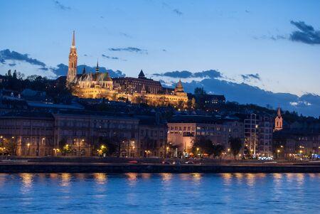 matthias church: Matthias church and the Fishermans Bastion at night in Budapest Hungary Stock Photo