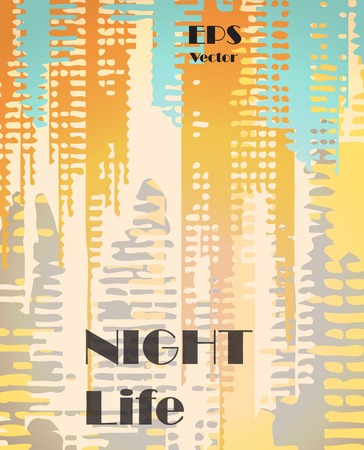 nightlife: Stylish colorful background with random ink elements resembling buildings and night lights. Perfect for banners, booklets and web project. Nightlife noir imagery. Illustration
