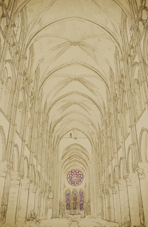 place of worship: Long Nave of a Gothic Church. Travel background illustration. Painting with watercolor and pencil. Brushed artwork.