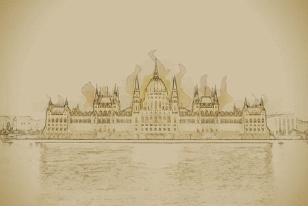 magyar: The Hungarian Parliament Building with bright and beautiful illumination at night. Travel background illustration. Painting with watercolor and pencil. Brushed artwork. Illustration