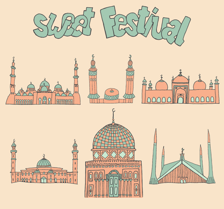 namaaz: set of Colorful drawings of mosques with text. Hand drawn images of islamic worship places for holiday design. Doodles of different mosques with holiday lettering. Illustration