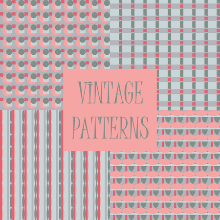 printed media: Set of four abstract geometric retro seamless tiles. Retro wallpaper texture. Vintage pattern for design uses, web and printed media. Colorful wrapping paper.