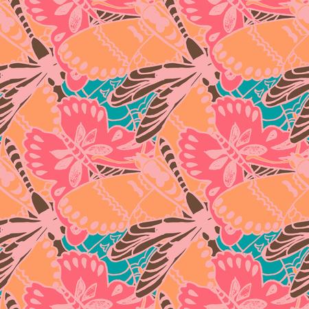 flower patterns: Patr�n sin fisuras con las mariposas. Fondo colorido para la primavera y el verano. Impresi�n con estilo brillante para la industria textil o uso de la web.