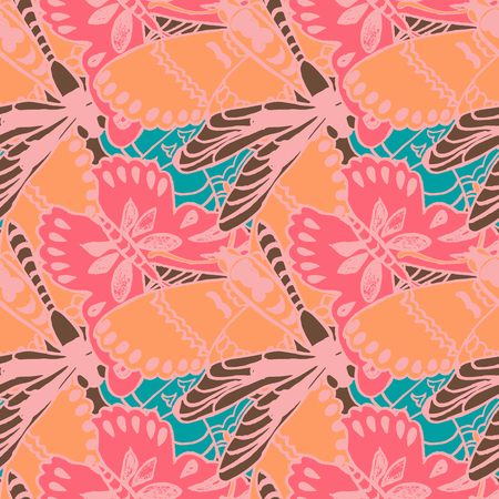 ornaments floral: Seamless pattern with butterflies. Colorful background for spring and summer. Bright stylish print for textile or web usage. Illustration