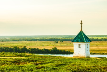poet: Little chapel with beautiful landscape in Konstantinovo, Russia - the birthplace of russian poet Sergei Yesenin Stock Photo