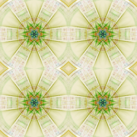 Abstract kaleidoscopic pattern. Seamless tiles with symmetrical pattern. Colorful background template for different design uses. Illustration