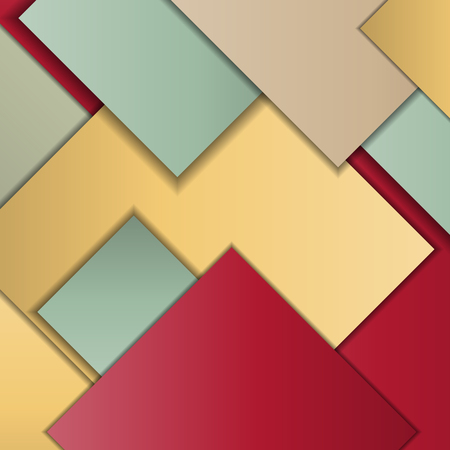 paradigm: Stack of random rectangles hovering in space on a flat surface. Abstract background in the paradigm of material design. Perfect background texture with multiple colors and 3d effects.