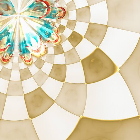 distinct: Abstract floral composition with circular checkered pattern. Colorful decorative texture for use in design projects as background or as distinct design element. Radial movement of colors and shapes.