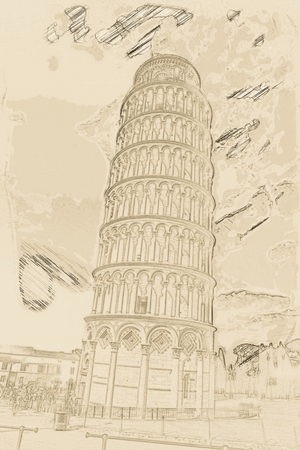 miracoli: View of Leaning tower, Piazza dei miracoli, Pisa, Italy. Painting of travel scene, pencil outlines of background.
