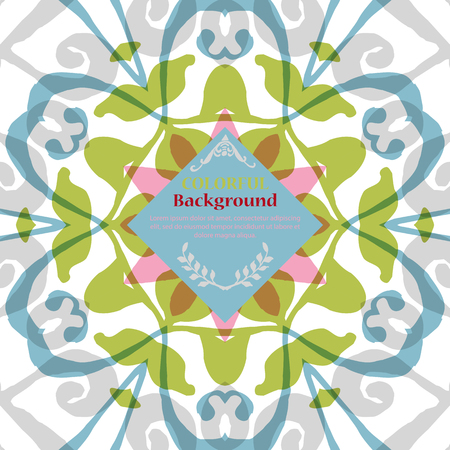 Gorgeous symmetrical pattern with place for text. Colorful floral ornament tiles. Background for web design, printed media or app interface.
