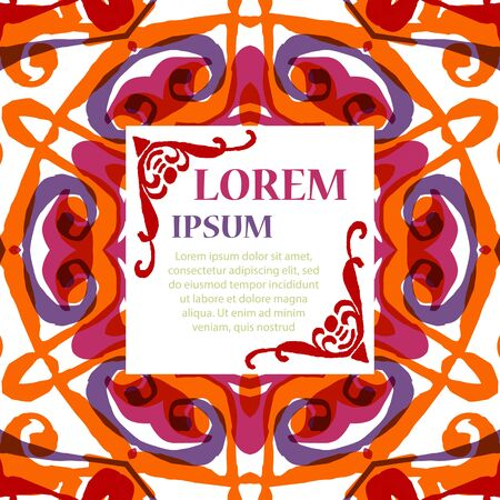 printed media: Gorgeous symmetrical pattern with place for text. Colorful floral ornament tiles. Background for web design, printed media or app interface.