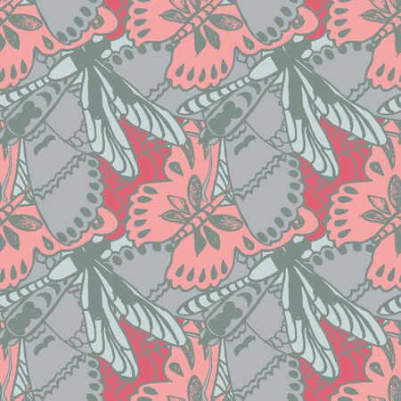 Seamless pattern with butterflies. Colorful background for spring and summer. Bright stylish print for textile or web usage. Illustration