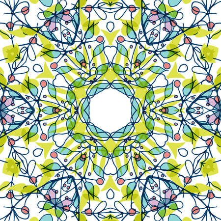 Gorgeous seamless patchwork pattern. Colorful floral ornament tiles. For different design uses, as wallpaper, pattern fills, web page background, surface textures for print and dalle production. Illustration