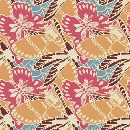 usage: Seamless pattern with butterflies. Colorful background for spring and summer. Bright stylish print for textile or web usage. Illustration