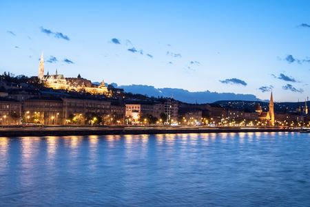 matthias: Matthias church and the Fishermans Bastion at night in Budapest Hungary Stock Photo