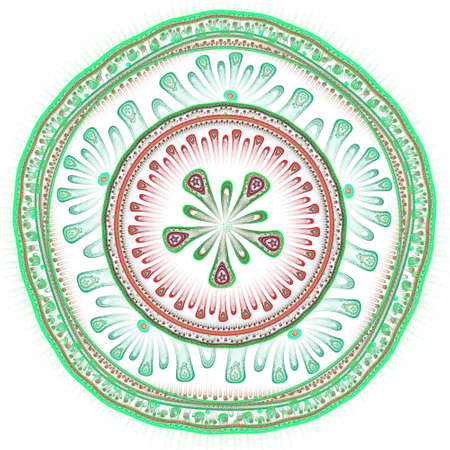 vivid colors: Stylized flower ornament. Colorful round pattern with symmetrical geometric elements. Vivid colors and sophisticated kaleidoscopic shapes.