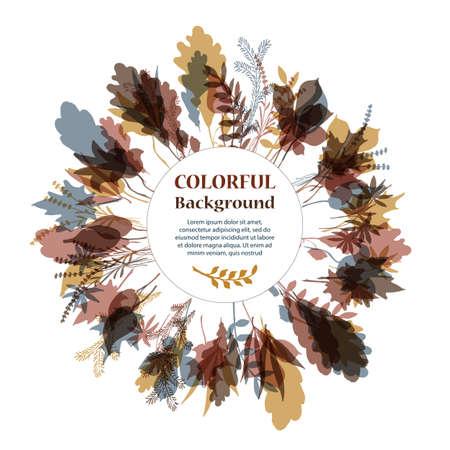 marcos redondos: Marco redondo otoñal. Corona de hojas de otoño. Fondo con las hojas de otoño dibujadas a mano. Caída de las hojas. Sketch, elementos de diseño. Ilustración del vector.