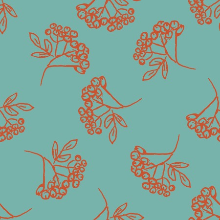 aronia: Seamless pattern with hand drawn leaves.