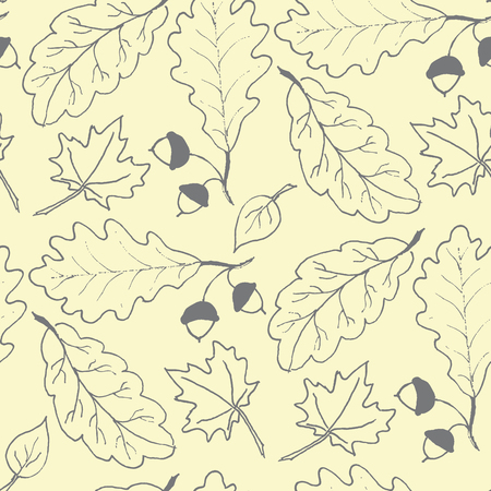 fruits background: Seamless pattern with hand drawn leaves.