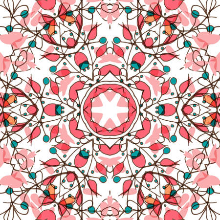 kelet európa: Gorgeous seamless patchwork pattern. Colorful floral ornament tiles. For different design uses, as wallpaper, pattern fills, web page background, surface textures for print and dalle production. Illusztráció