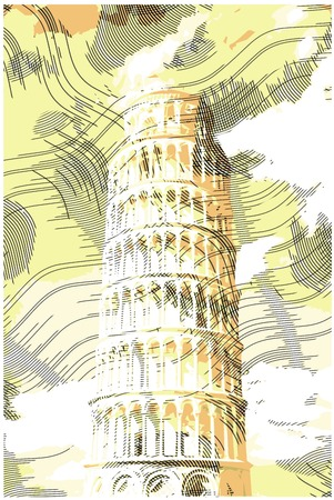 famous painting: Famous pisan tower rendered with engraving effects.  Colorful strokes form an image of travel destination sight in Italy. Painting of Pisa Tower.