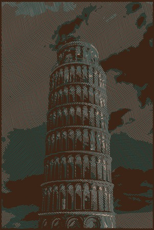 duomo of florence: Famous pisan tower rendered with engraving effects.  Colorful strokes form an image of travel destination sight in Italy. Painting of Pisa Tower.