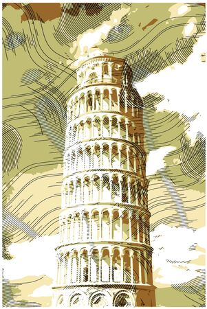roman catholic: Famous pisan tower rendered with engraving effects.  Colorful strokes form an image of travel destination sight in Italy. Painting of Pisa Tower.