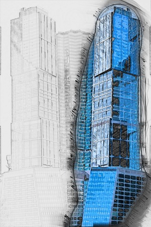 modern office buildings.  Painting of travel scene, pencil drawing outlines of background Stock Photo