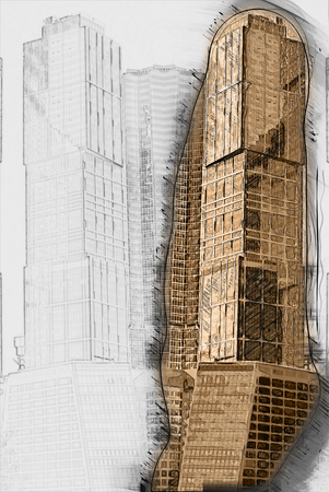 placid water: digitally transformed photo of modern office building. Business background.
