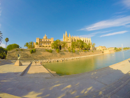 palma: The Cathedral of Santa Maria of Palma de Mallorca, La Seu, Spain. Touristic destinations in Palma. Stock Photo