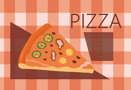 bacon strips: Fast food vector illustration with pizza. Design elements for print, web, and other uses. Colorful stylish fast food icon on colored background with place for text and caption. Illustration