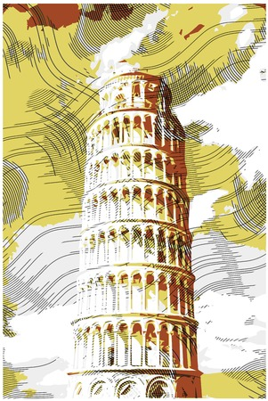 pisa tower: Famous pisan tower rendered with engraving effects.  Colorful strokes form an image of travel destination sight in Italy. Painting of Pisa Tower.