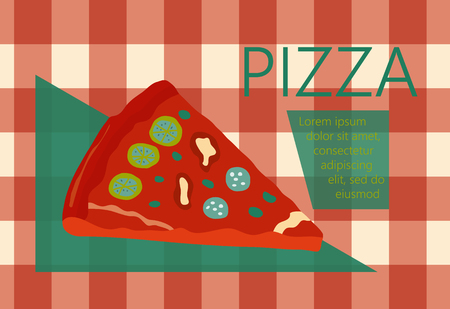 tubule: Fast food vector illustration with pizza. Design elements for print, web, and other uses. Colorful stylish fast food icon on colored background with place for text and caption. Illustration